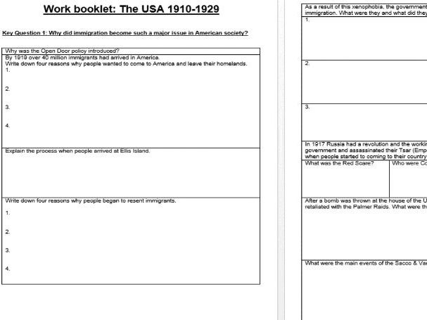 Eduqas / WJEC GCSE History - USA 1910-1929 COMPLETE TOPIC REVISION WORK BOOKLET