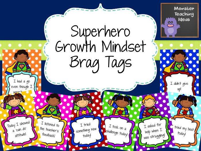 Superhero Growth Mindet Brag Tags