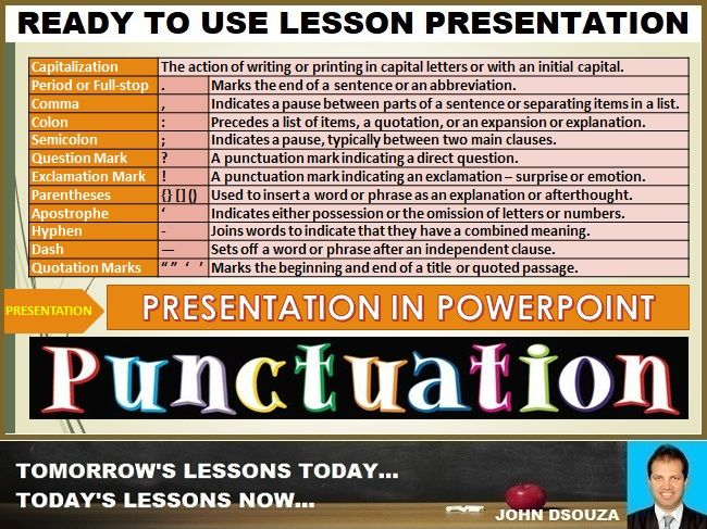 PUNCTUATION: READY TO USE LESSON PRESENTATION