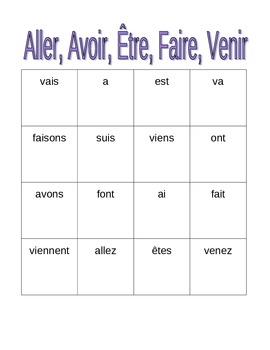 aller avoir tre faire venir french verbs bingo game by jer520 teaching resources tes. Black Bedroom Furniture Sets. Home Design Ideas