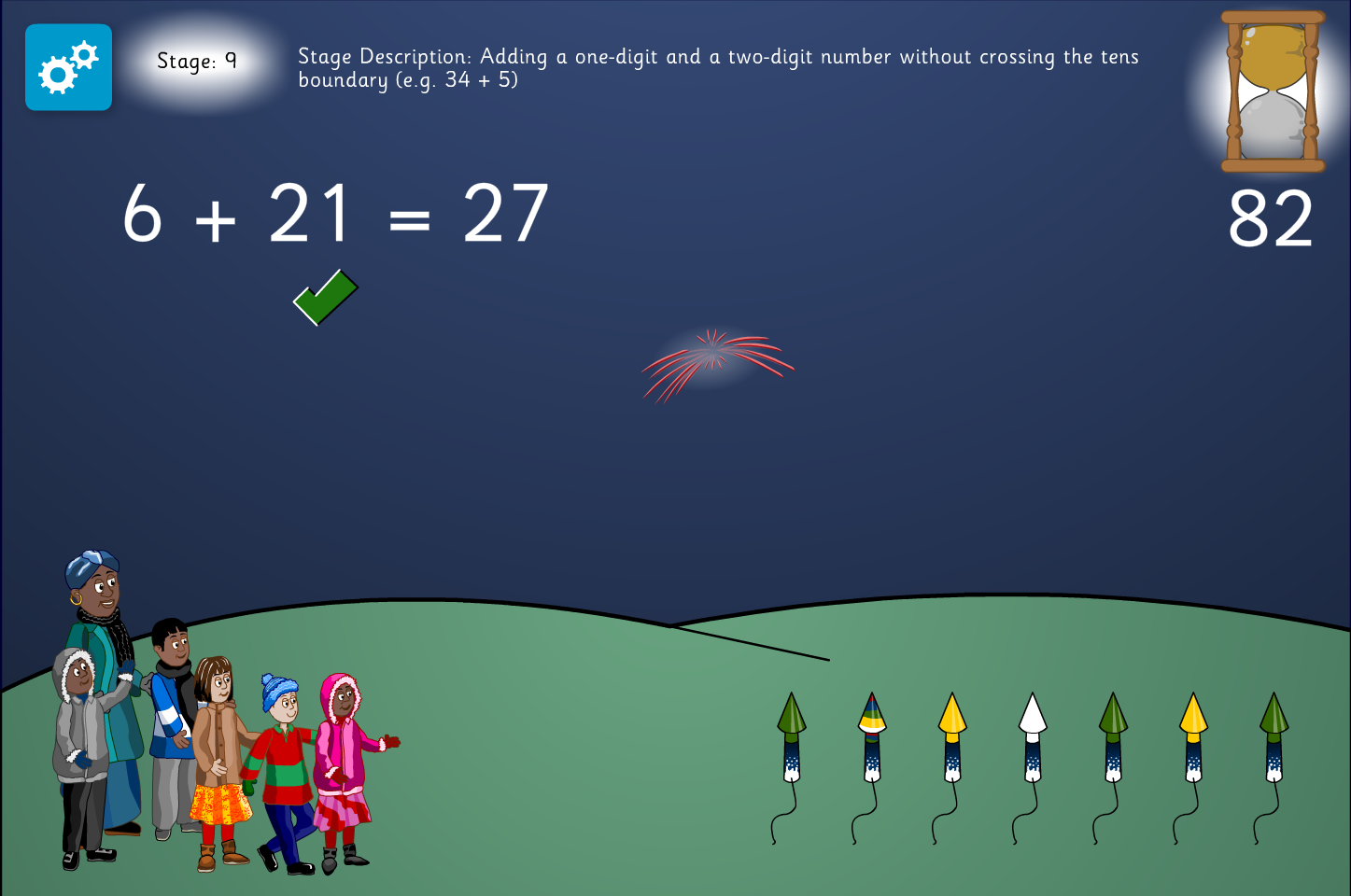 Missing Number Addition Interactive Activity -  Firework Maths - Bonfire Night KS1