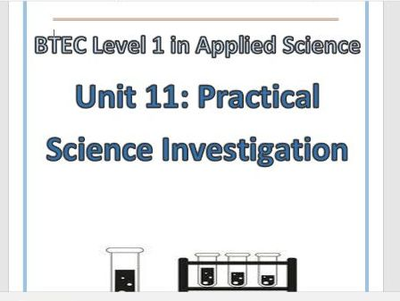 BTEC Level 1 in science Workbook – Unit 11