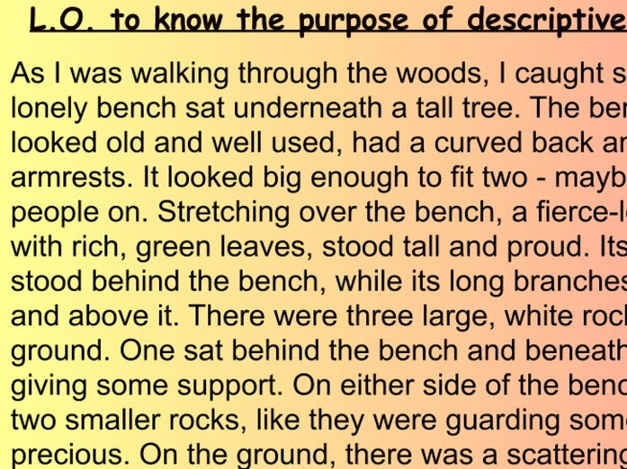 Setting Description Introduction Y 4 5 6 Art English Sketch Fiction descriptive writing