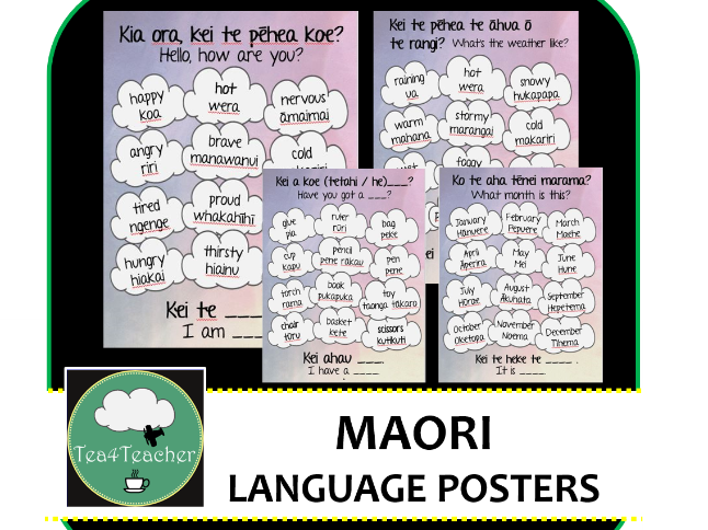 Maori Phrases and Vocabulary x16 Posters - People, Places, Actions, Objects, Colours, Months, Days