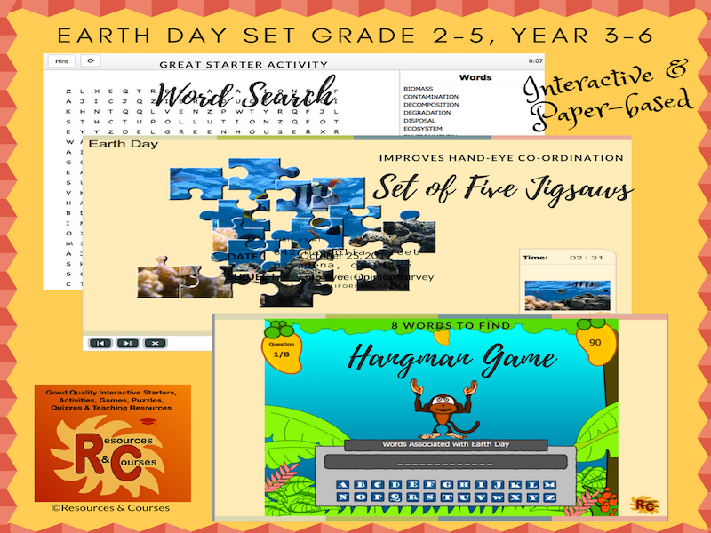 Earth Day Games & Puzzles Set (interactive) Grade 2 - 5, Year 3 - 6 (3 products)