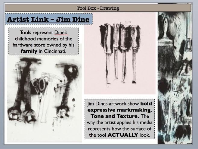 Jim Dine Charcoal Drawing lesson - Tool Box Drawing - full lesson plan + PP