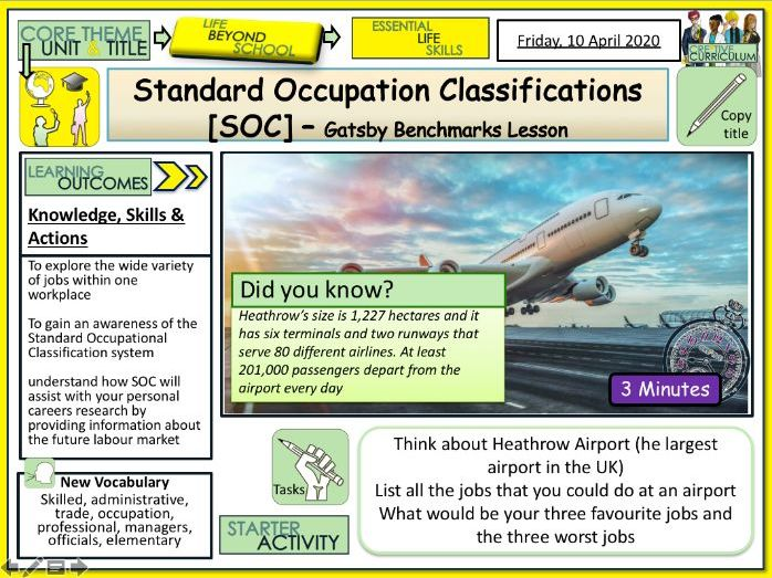 Standard Occupation Classifications Gatsby Benchmarks + Careers