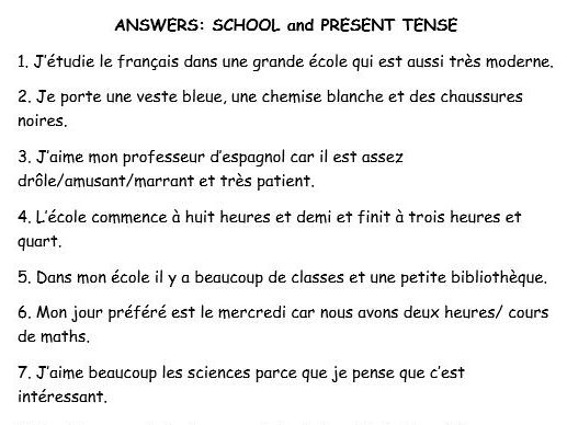 GCSE French translation present tense