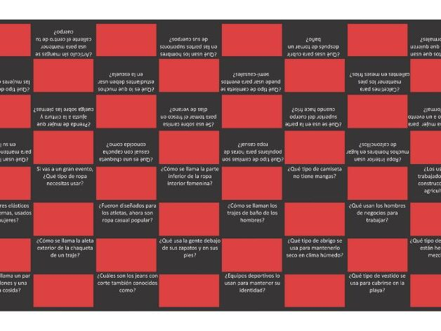 Clothing Items Spanish Checker Board Game