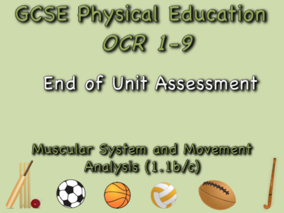 GCSE OCR PE  (1.1b/c) Muscular System and Movement Analysis end of unit test
