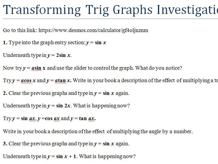 Transforming Trig Graphs Using Desmos investigation