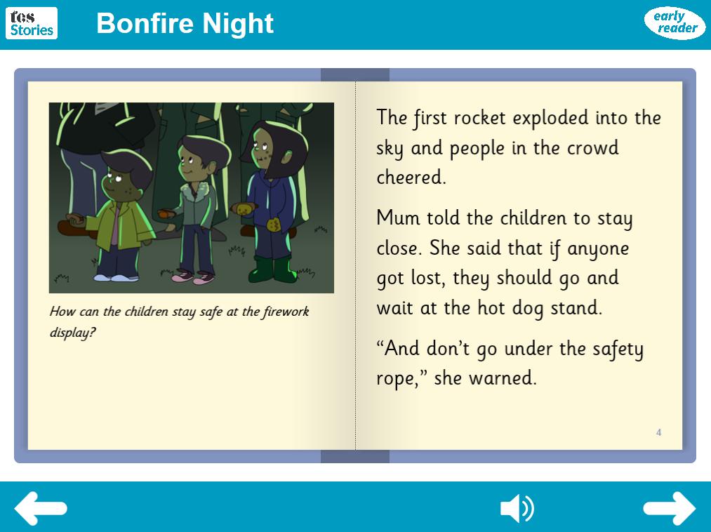 Bonfire Night Interactive Storybook - Early Reader Level - Bonfire Night KS1