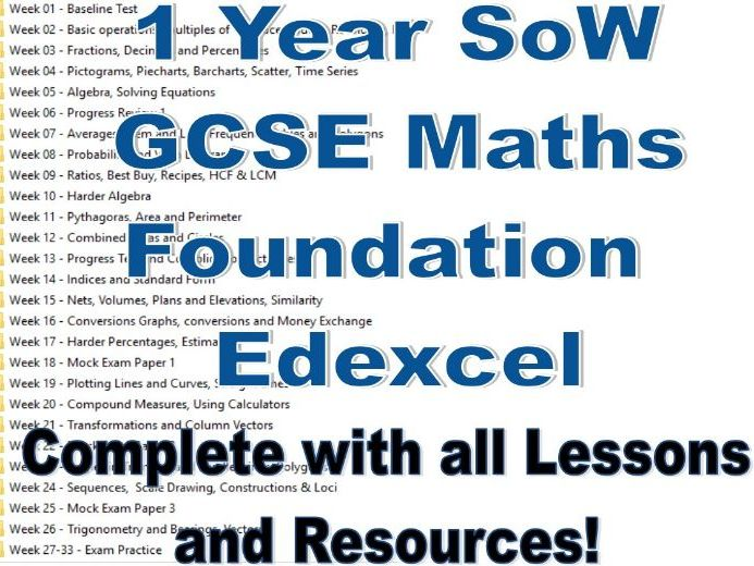 1 Year SoW GCSE Maths Foundation for Edexcel 9-1 - Including all lessons & resources!