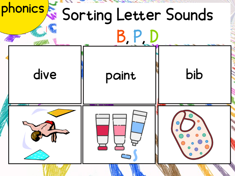 Sorting Letter Sounds B,P,D Words and Pictures