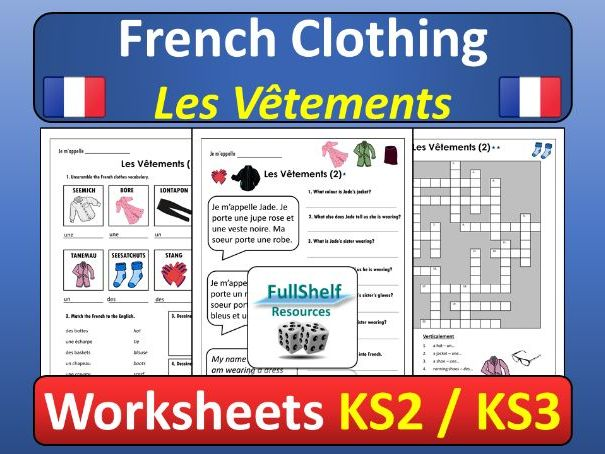 French Clothing Worksheets