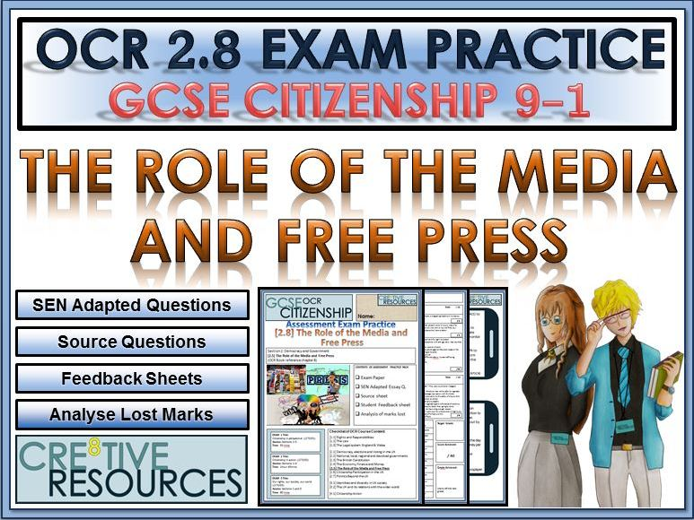 9-1 Citizenship OCR GCSE Exam Assessment:  The Role of the Media and Free Press