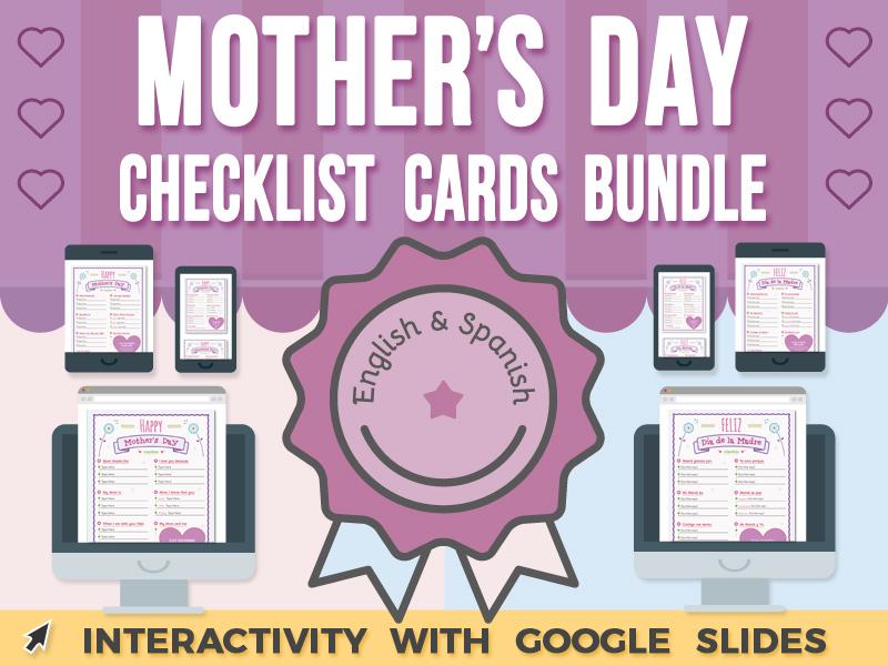 Mother's Day Checklist Cards - Google Slides BUNDLE