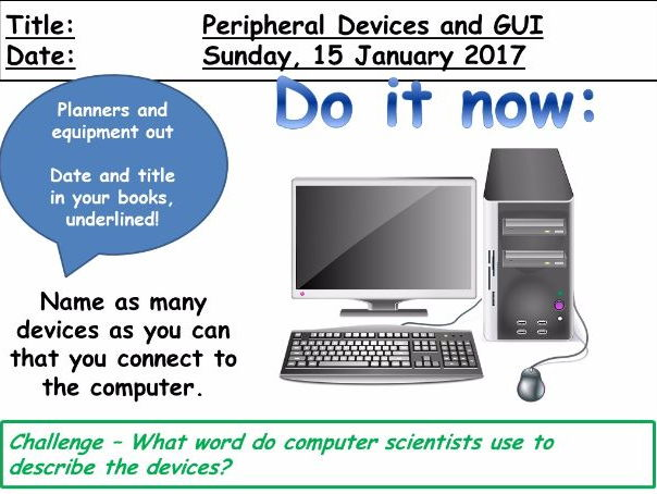 Peripheral Devices and Graphical User Interface (WJEC GCSE Computing)