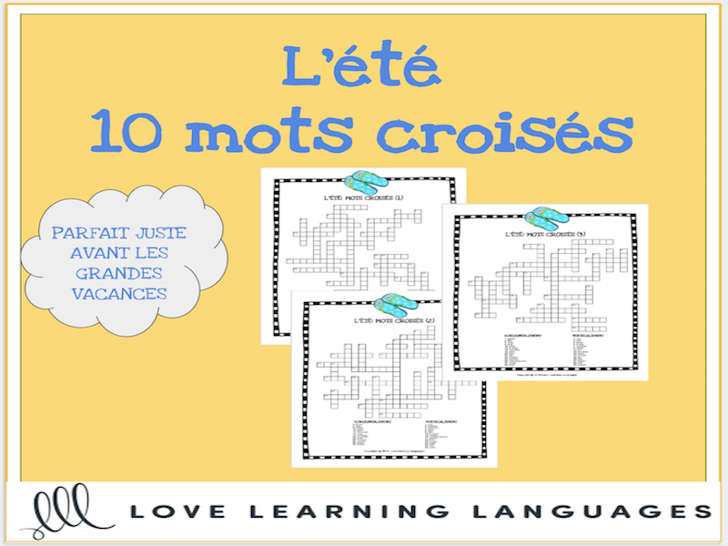 L'été - French crossword puzzles - Summer theme - 10 versions