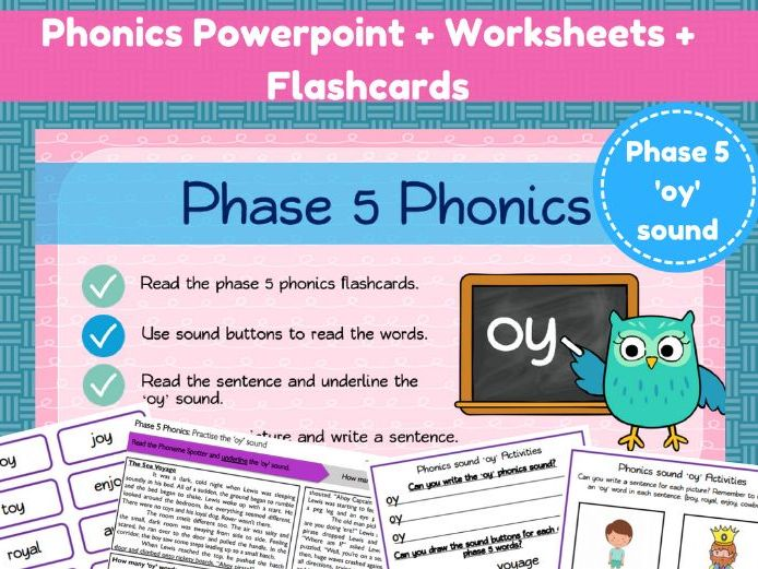 Phonics powerpoint and worksheets - the 'oy' sound