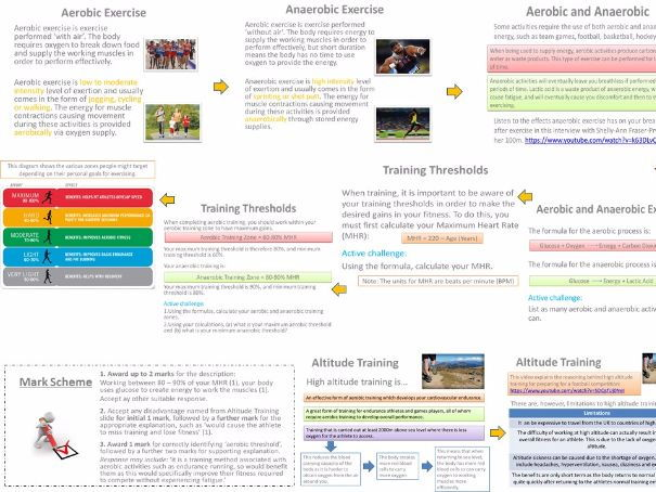 AQA GCSE PE (9-1) Physical Training Unit (3.1.3) - Aerobic & Anaerobic Training - Topic on a Page