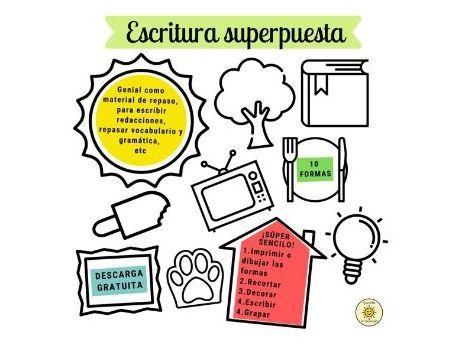 Escritura superpuesta. Plantillas con formas. Shape templates for creative writing