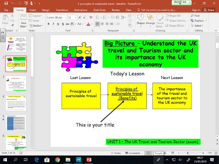 Travel and Tourism BTEC first level 2 - UNIT 1 - lesson 5 - Benefits of Sustainable Tourism