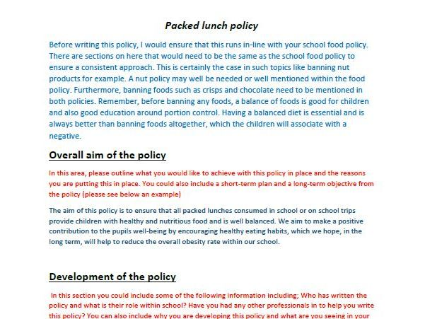 Guide and example of writing a successful packed lunch Policy