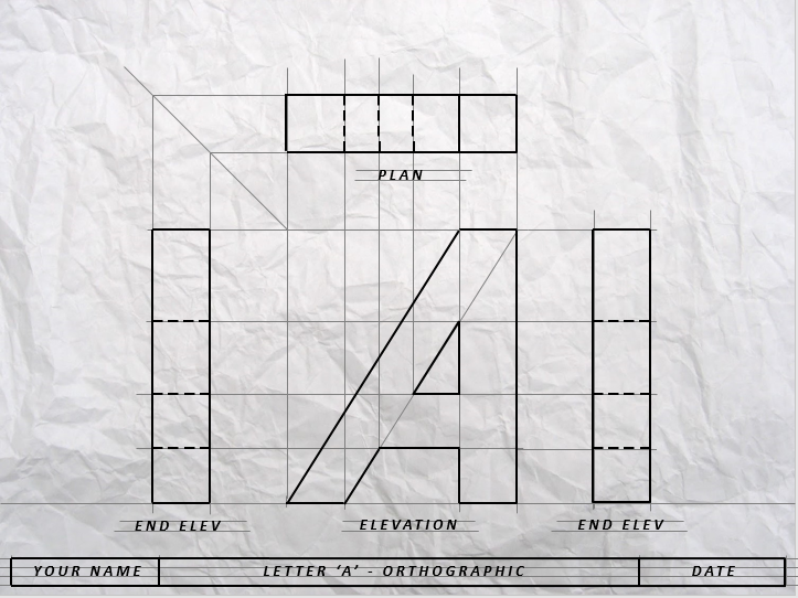 Orthographic Projection - Letter 'A'