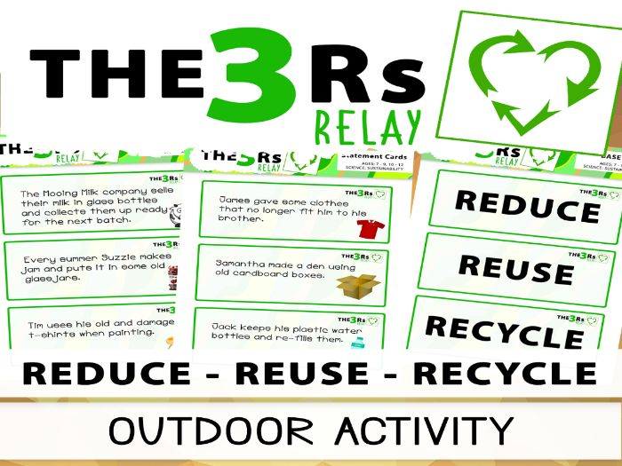 The 3Rs Relay - Reduce, Reuse, Recycle Outdoor Sorting Activity