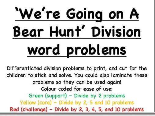 Going On A Bear Hunt: Differentiated Division word problems / Task cards