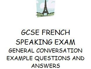 GCSE French speaking exam example questions and model answers with English translation