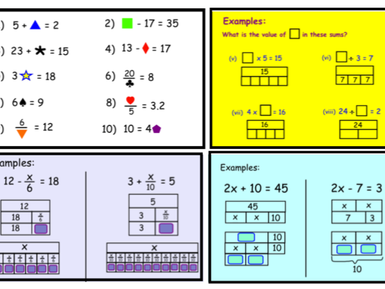 Finding Unknown Numbers - Solving Equations using Bar models (notebook)