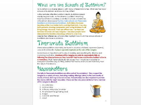 Buddhism: Denominations and Schools of Buddhism: Differentiated Information and Activity Sheets