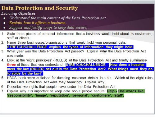 Data protection and security tasks lesson bundle