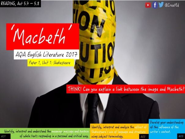 Shakespeare - Macbeth, Act 5.7 & 5.8  New GCSE English Literature, Paper 1 Section A.