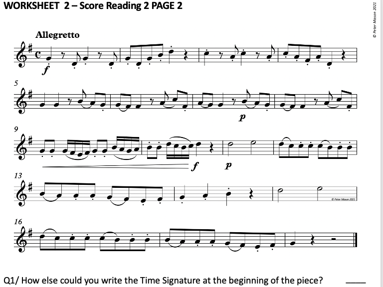 Music Score Reading Lesson Starters (2 Double-Sided Worksheets)