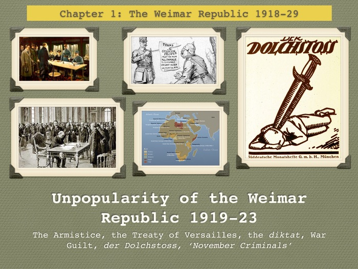 GCSE History The Weimar Republic. Unit 1. Unpopularity of the Weimar Republic 1919-23