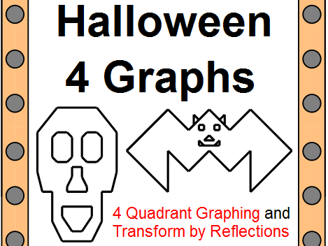 GRAPHING ORDERED PAIRS: 4 GRAPHS - HALLOWEEN THEMED (2 BATS, PUMPKIN, SKULL)