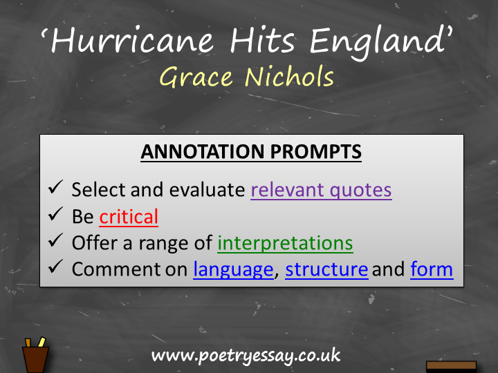Grace Nichols – 'Hurricane Hits England'– Annotation / Planning Table / Questions / Booklet