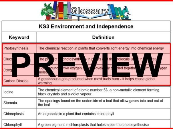 KS3 Science Glossary Biology Environment and Independence (Blank & Completed)