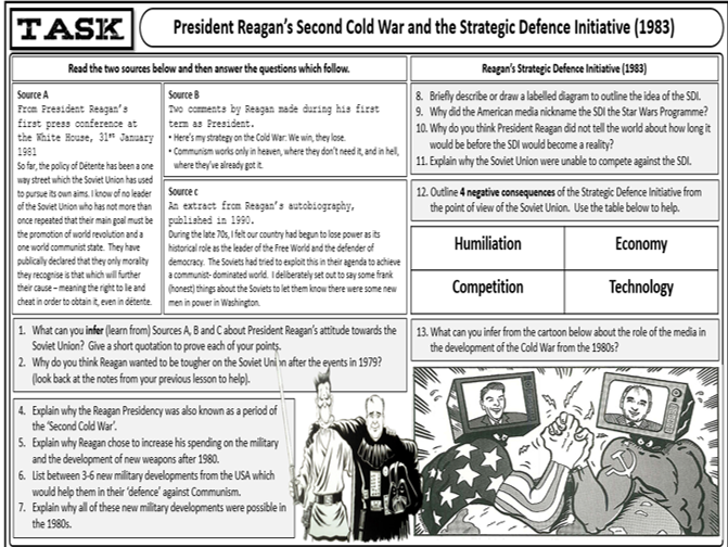 GCSE History Edexcel Cold War and S.Power Relations - Reagan & Strategic Defence Initiative L.16