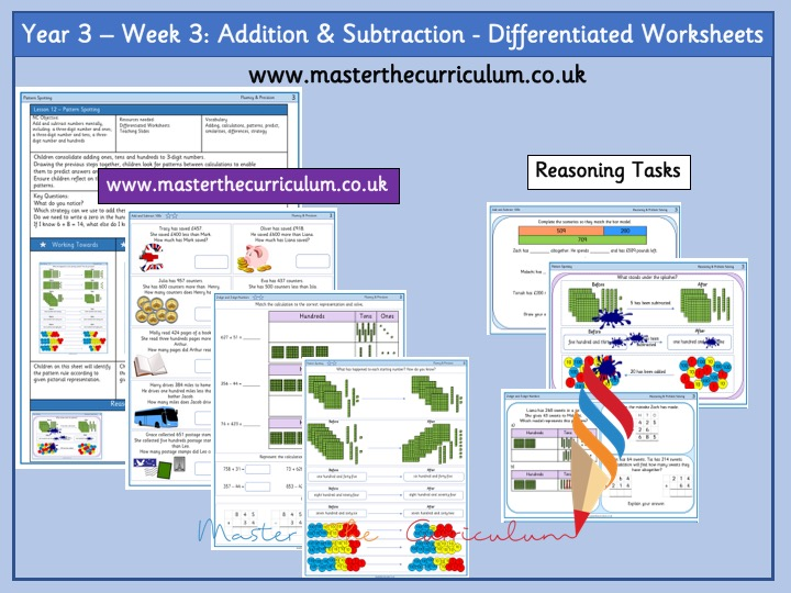 Year 3 – Week 3: Addition And Subtraction Differentiated Worksheets White Rose