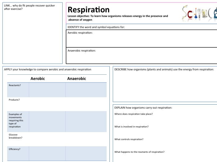AQA B1. Respiration Structured Lesson Map / Worksheet