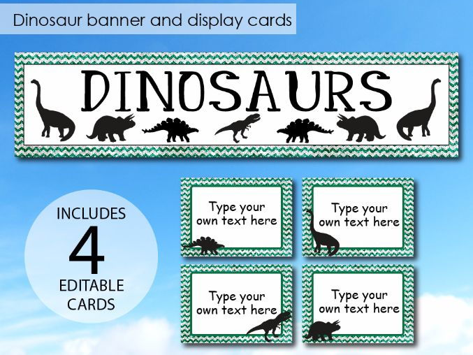 Dinosaurs Display Banner with Display Cards - Instant Display Pack