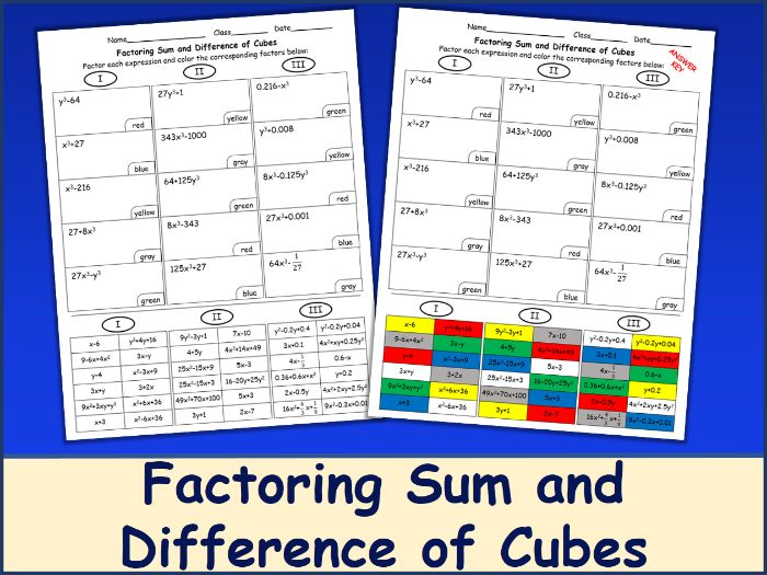 Factoring Sum & Difference of Cubes Color Mosaic
