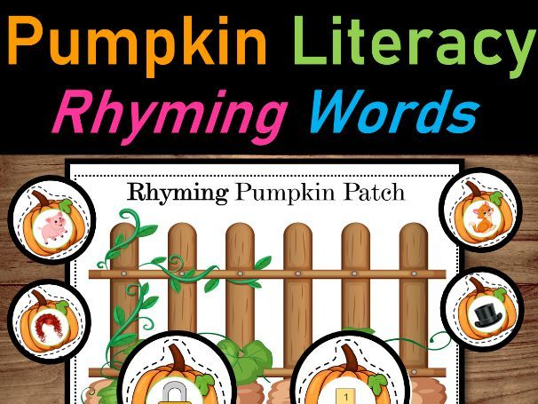 Pumpkin Literacy Centers   Pumpkin Vocabulary words, Rhyming words & Syllables