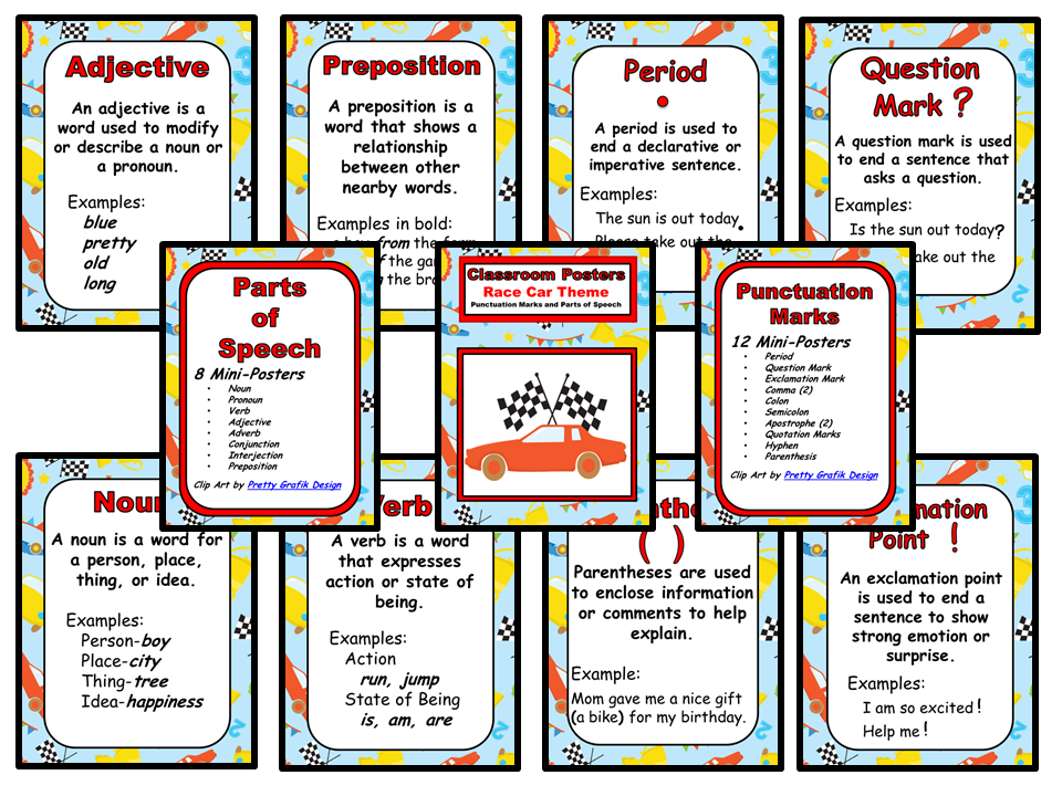 Classroom Mini-Posters - Race Car Theme