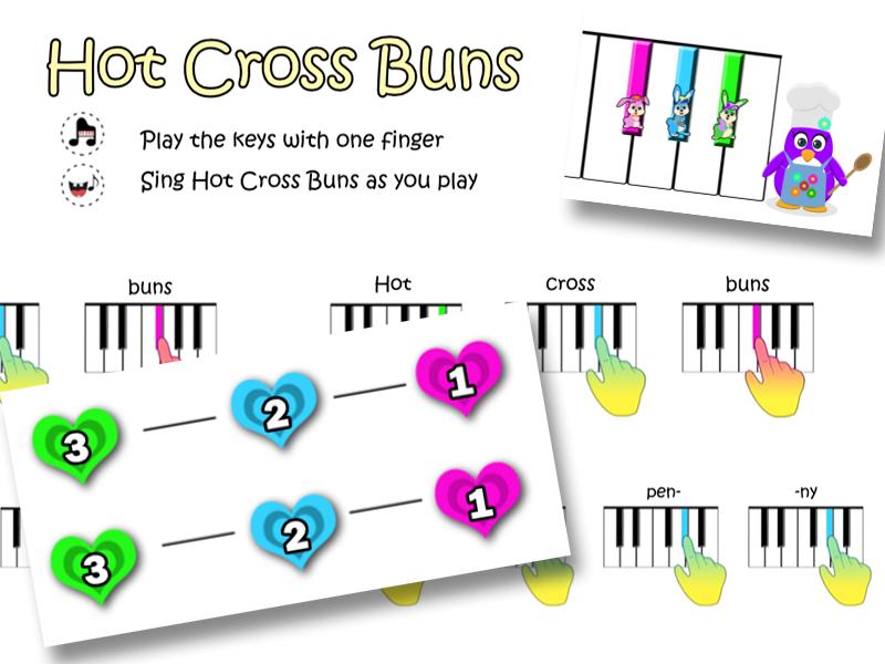 Hot Cross Buns - 3 Easy Piano Scores (Black Keys)