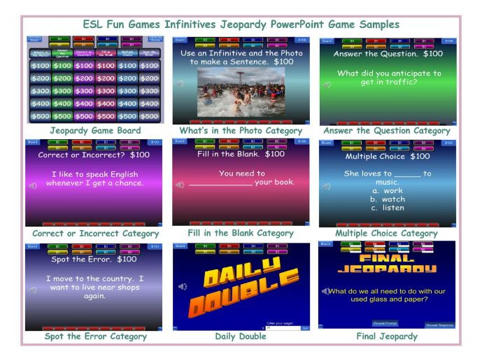 Jeopardy English Powerpoint Game Template By Eslfungames Teaching